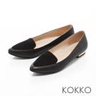 KOKKO-英倫紳士尖頭異材拼接金屬平底鞋-麂皮黑