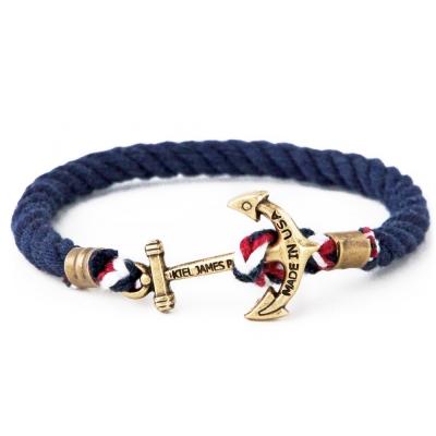 Kiel James Patrick 美國手工船錨棉麻繩單圈手環 深藍撞色粗繩編織