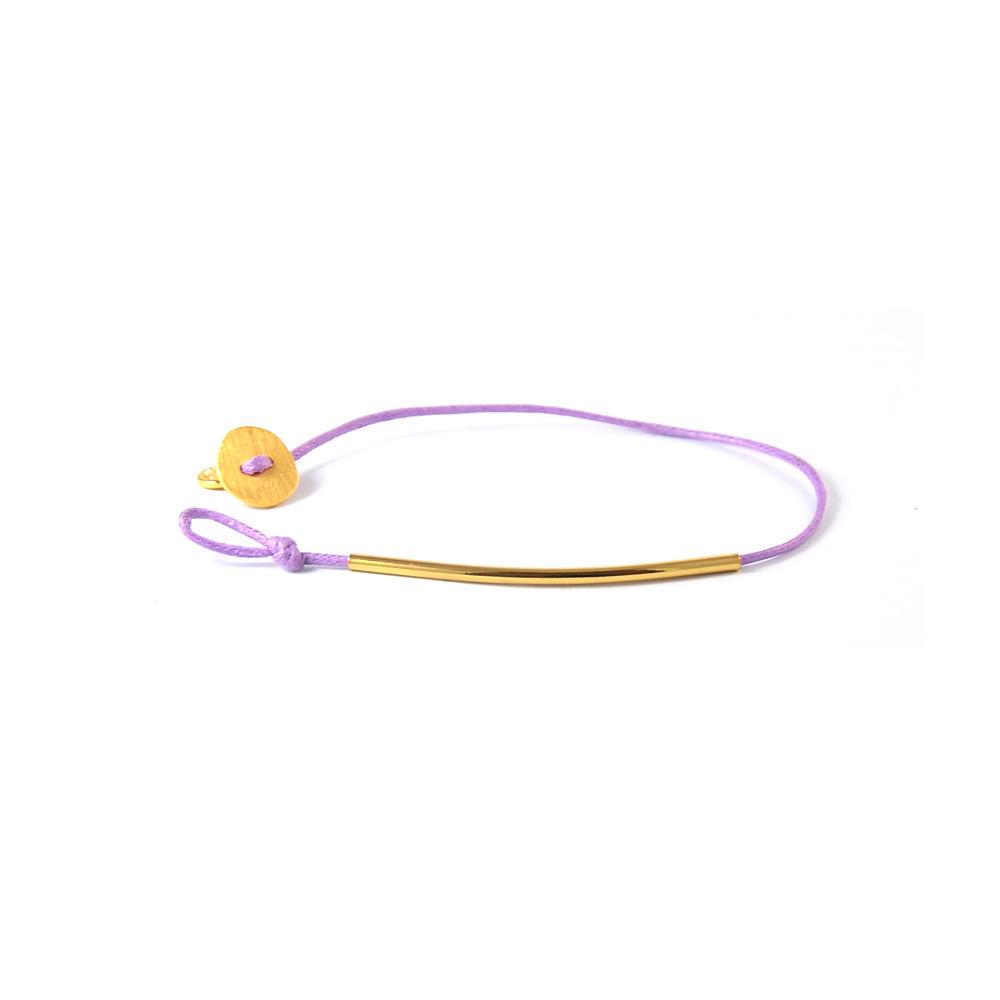 Gorjana  簡約時尚風格 Bali Tube 18k金 條管 手鍊-紫繩
