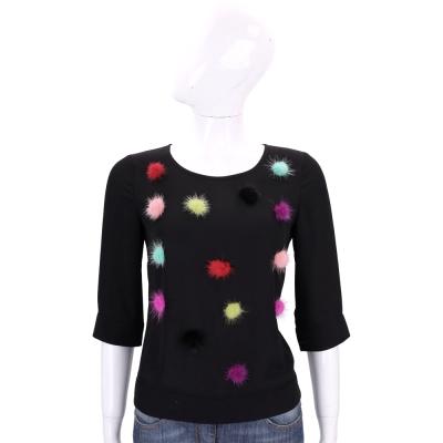 EDWARD ACHOUR PARIS 黑色多彩毛球設計五分袖上衣