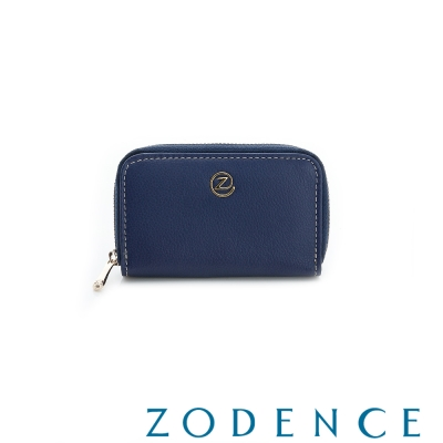 ZODENCE-繽紛牛皮系拉鍊零錢包-藍