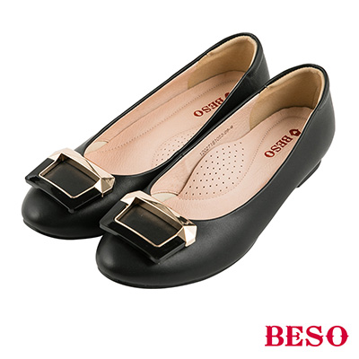 BESO 簡約知性 全真皮撞色金屬飾釦娃娃平底鞋~黑