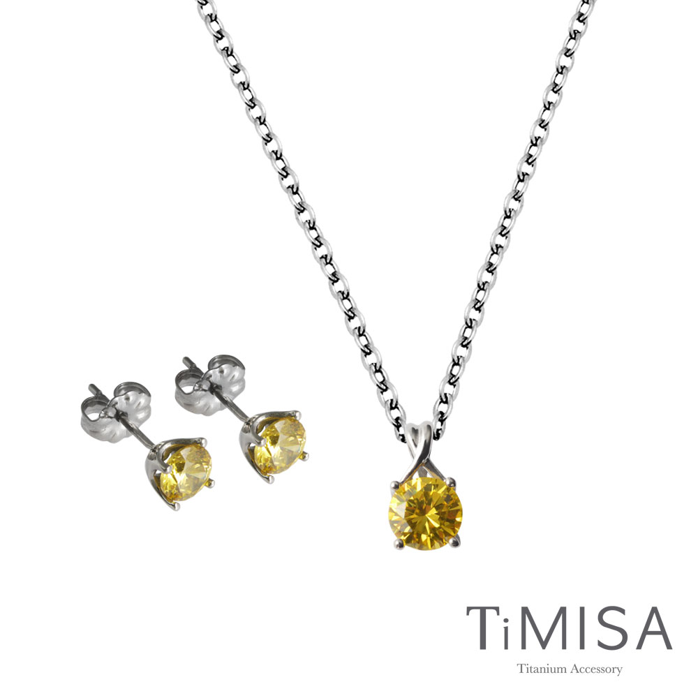 TiMISA《純鈦簡愛》耳環(S)+項鍊(C) 純鈦套組
