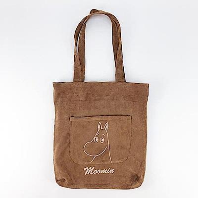 【MOOMIN】02(棕)燈芯絨手提包