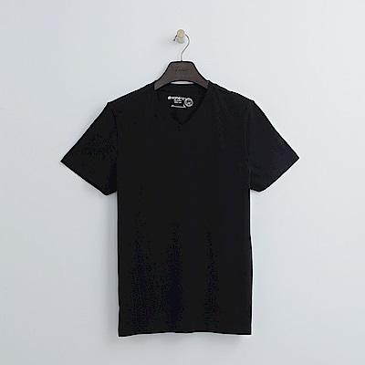 Hang Ten - 男裝 - 有機棉 基本V領T恤-黑色