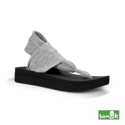 SANUK 厚底綁帶人字涼鞋-女款(灰色)