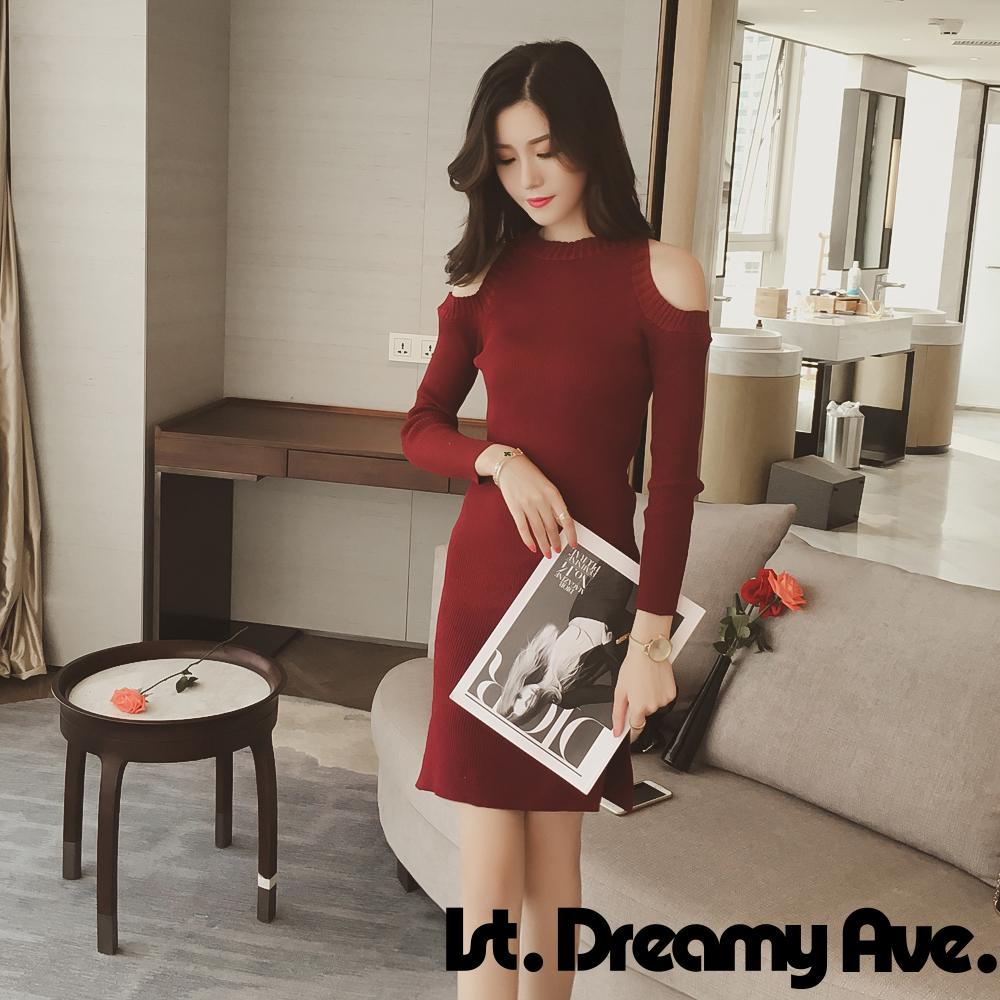 性感露肩圓領針織連身裙(共三色)-1st. Dreamy Ave.