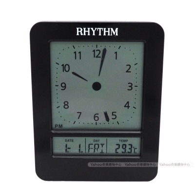 RHYTHM日本麗聲 未來科技風格模擬指針電子鐘/9cm
