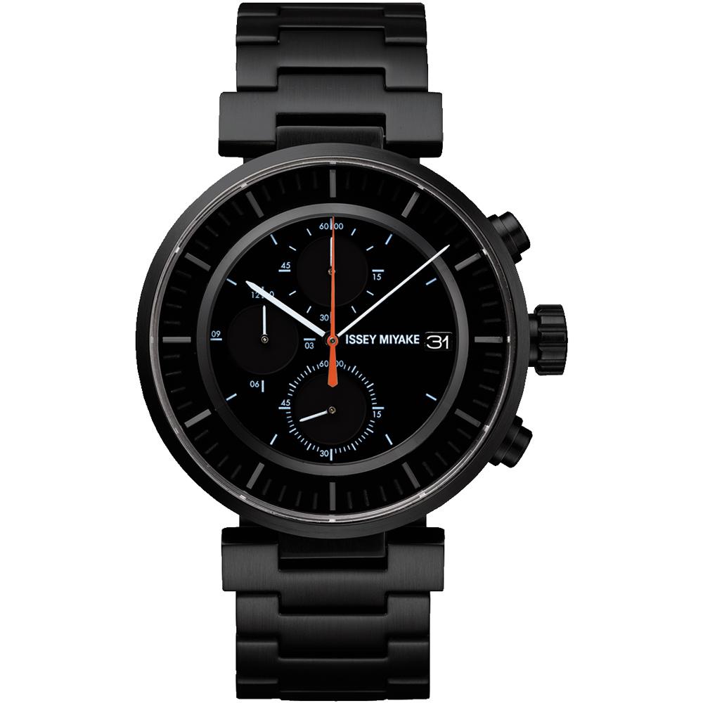 ISSEY MIYAKE 三宅一生W系列 三眼計時腕錶(SILAY002Y)-黑/43mm