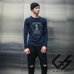 筆畫風翅膀1號磨毛水洗長袖T恤 (共二色)-GraphicSpace
