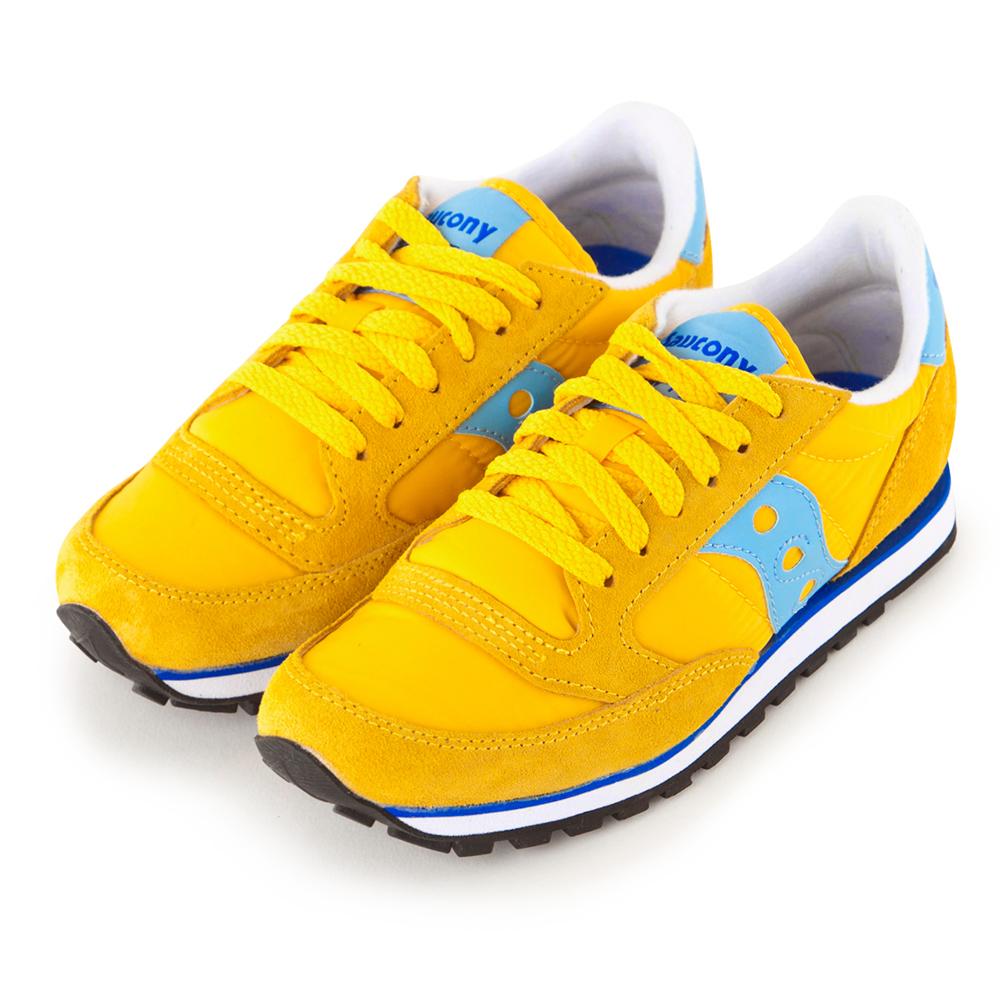 (女) 美國 SAUCONY 經典時尚休閒輕量慢跑球鞋-黃藍