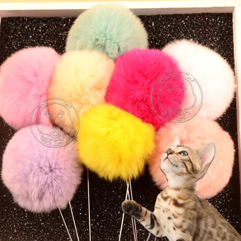 DYY》貓咪超愛彩色絨毛球鋼絲線鈴鐺逗貓棒-(總長約60cm)隨機出貨