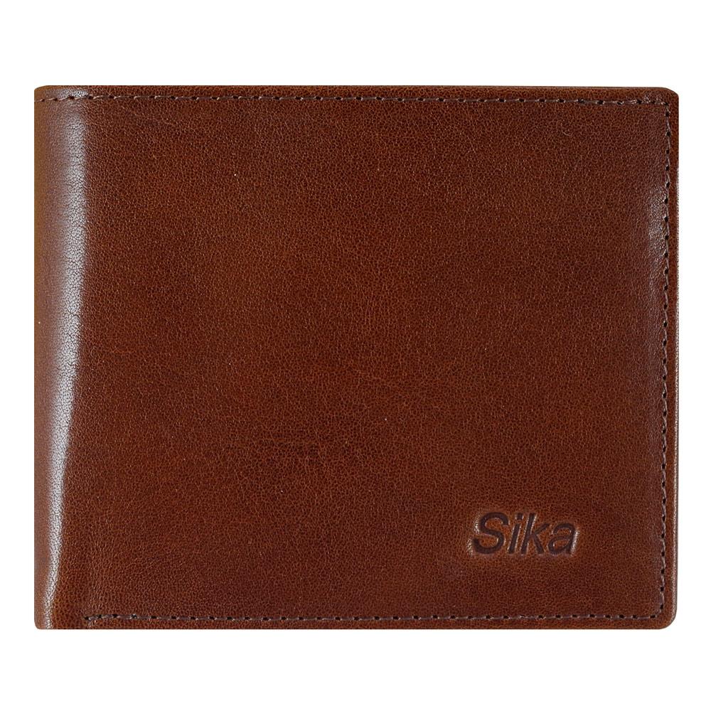 SIKA義大利素面牛皮簡約中性短皮夾(含拉鍊零錢匣) A8220-02深咖啡
