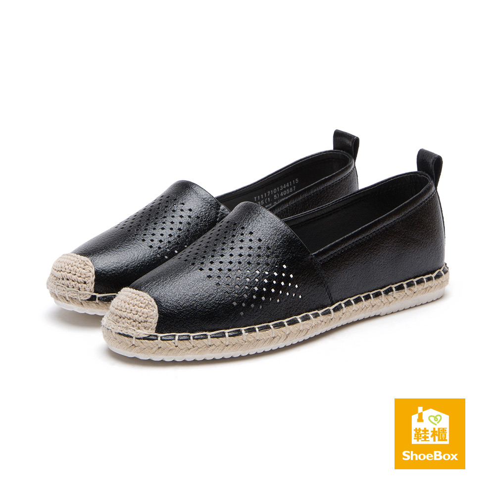 達芙妮DAPHNE ShoeBox系列 休閒鞋-編織縷空平底休閒鞋-黑