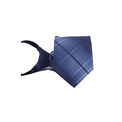 拉福  領帶6cm中窄版領帶拉鍊領帶(漸格子藍)