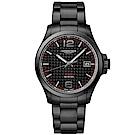 LONGINES浪琴 征服者系列V.H.P.萬年曆手錶-碳纖維x鍍黑/43mm