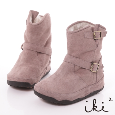 iki2機能雪靴系列-真麂皮環帶五金厚底雪靴-粉藕