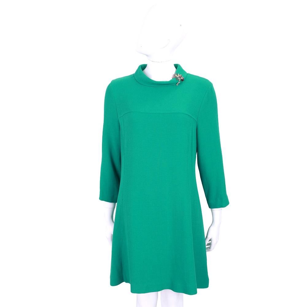 ERMANNO SCERVINO 羊毛祖母綠寶石鑽花裝飾小立領洋裝