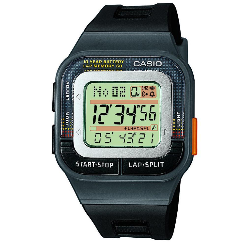 CASIO 10年電力慢跑數位運動風錶(SDB-100-1A)-黑按鍵/43.9mm