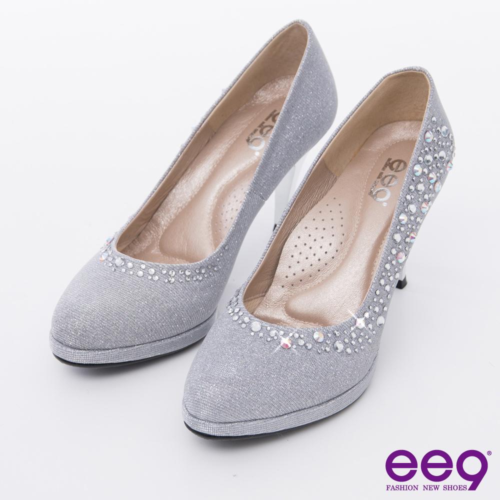 ee9 心滿益足~驚豔美人進口閃亮斜紋布夢幻亮鑽高跟鞋*銀色