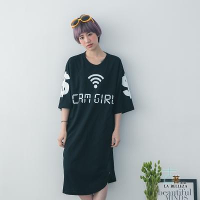 古著 cam girl 訊號下擺側拉鍊中袖長版棉洋裝-La Belleza