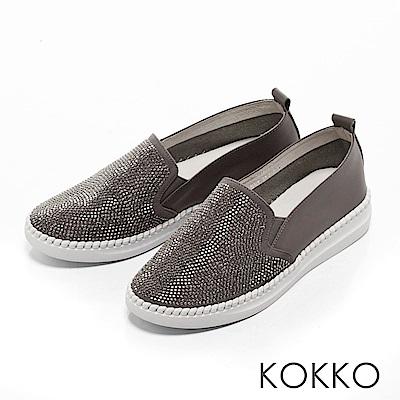 KOKKO -仰望星光真皮彈力微厚底休閒鞋-幻想灰