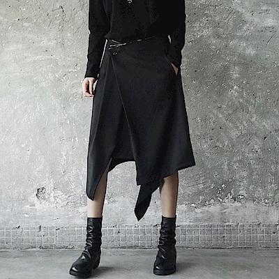 新款暗黑割邊不規則中長裙-設計所在