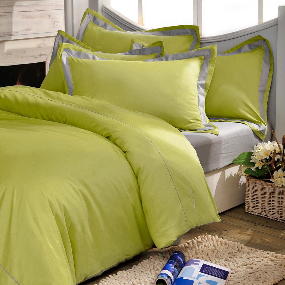 義大利La Belle 個性混搭 雙人被套床包組-芥末綠x淺灰