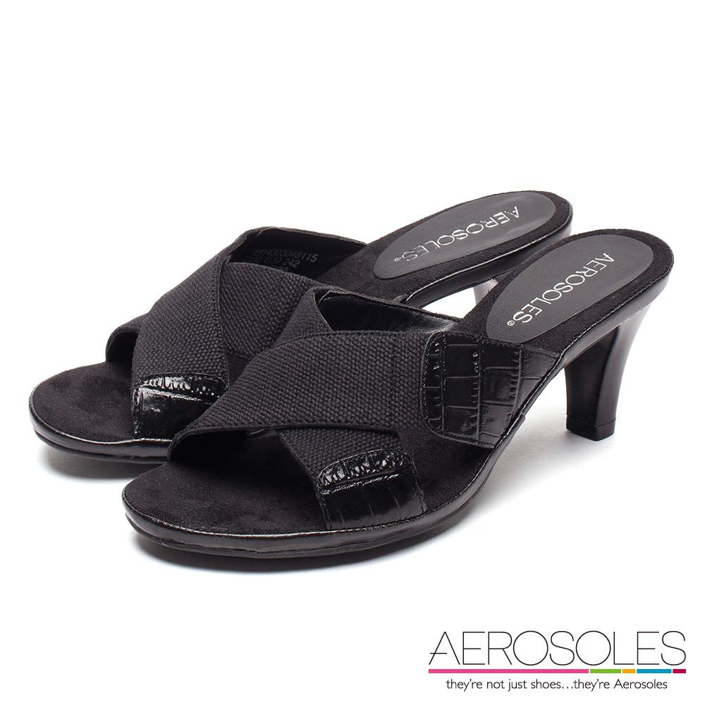 AEROSOLES 雅緻俐落異材質拼接小牛皮交叉條帶露趾中跟涼鞋~經典黑