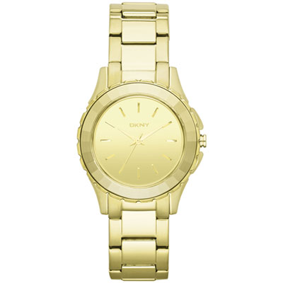DKNY 百老匯女時尚都會腕錶-鏡面金/32mm