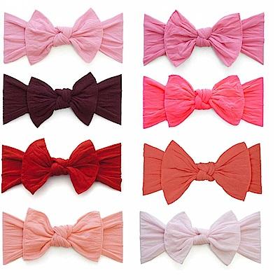 Baby Bling 粉紅系大蝴蝶結寬版寶寶素色髮帶-八色任選