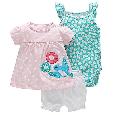 Baby unicorn 粉點小鳥綠花朵短袖套裝3件組