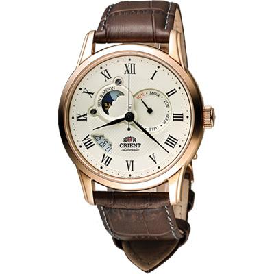 ORIENT 東方錶 SUN&MOON系列羅馬數字日月相機械錶-米x玫瑰金框/42.5mm