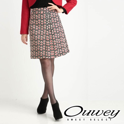 OUWEY-滿版愛心印花圖紋短裙