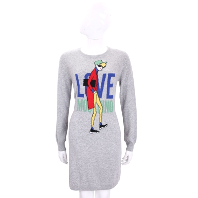 LOVE MOSCHINO 灰色女孩圖騰長袖針織洋裝