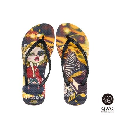 QWQ夾拖的創意(女)-Monroe Cat側鑽夾腳拖-咖啡