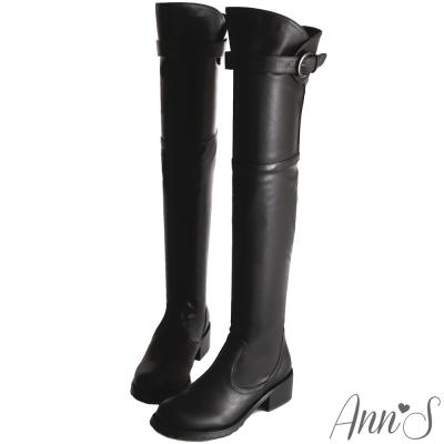 Ann'S美腿曲線花苞釦帶貼腿過膝長靴-黑
