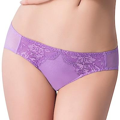 思薇爾 薔薇心系列M-XL蕾絲低腰三角內褲(夢雲紫)