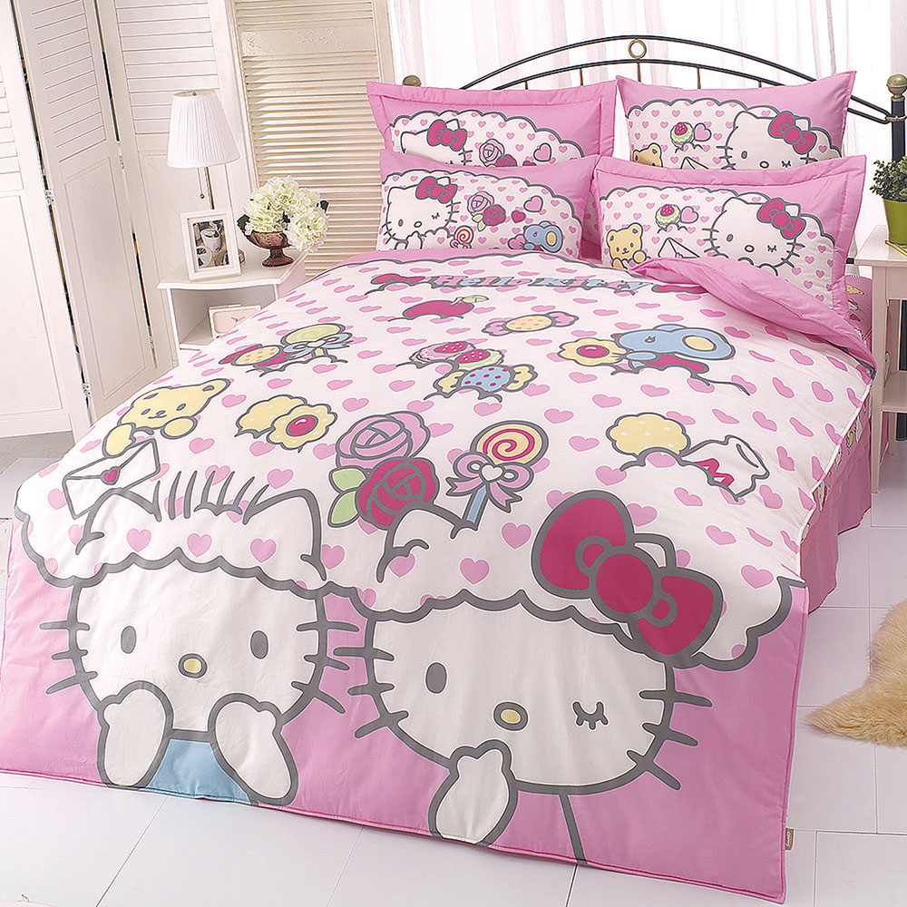 HELLO KITTY 我的最愛系列-雙人純棉四件式床包兩用被組