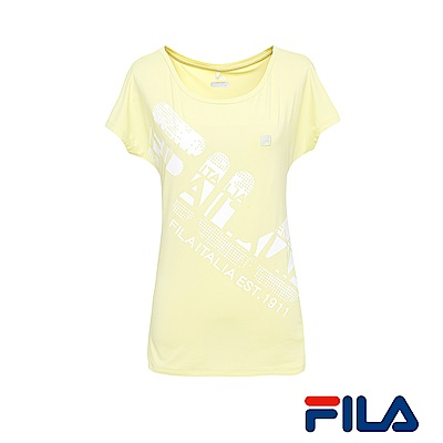 FILA女性吸排/抗UV大圓領T恤(檸檬黃) 5 TER- 1314 -LM