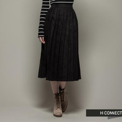 H-CONNECT-韓國品牌-女裝-磨毛長版百褶裙