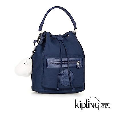 Kipling 手提包 太空藍素面-中