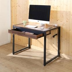 BuyJM 工業風拼接木附插座工作桌(寬98x60x77公分)-DIY
