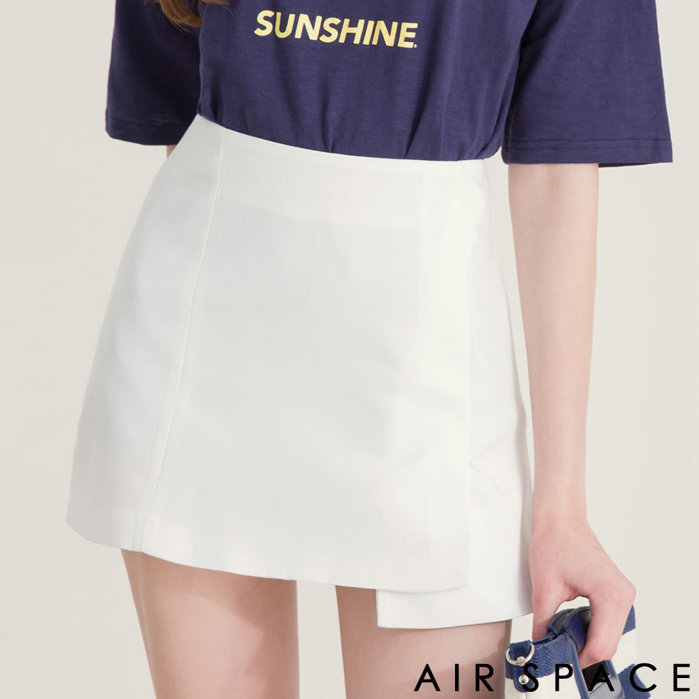 AIR SPACE不對稱裙襬剪裁雪紡短裙白
