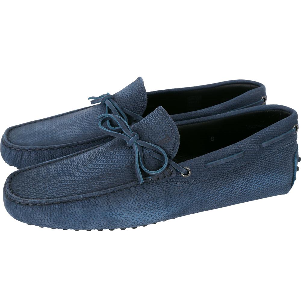 TOD'S Gommino 壓紋麂皮綁帶休閒豆豆鞋(男鞋/菸藍色)