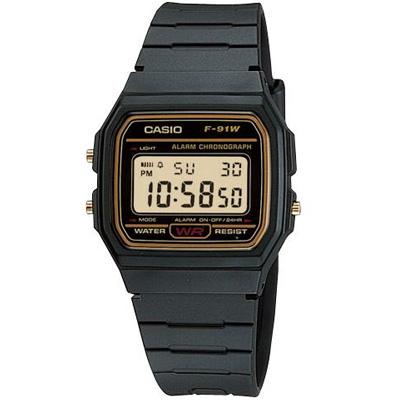 CASIO 運動小子電子錶(F-91WG-9A)-黑x黃框