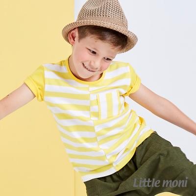 Little moni 美式休閒條紋撞色棉上衣   黃色