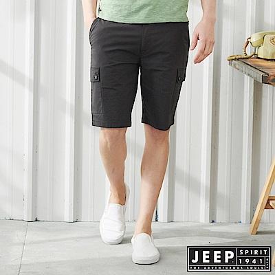 JEEP 經典修身雙口袋休閒短褲-鐵灰