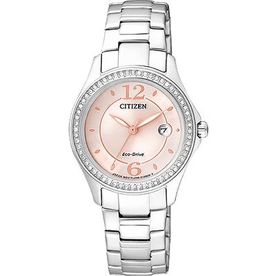 CITIZEN 光動能美麗境界晶鑽腕錶(FE1140-51X)-粉/29mm