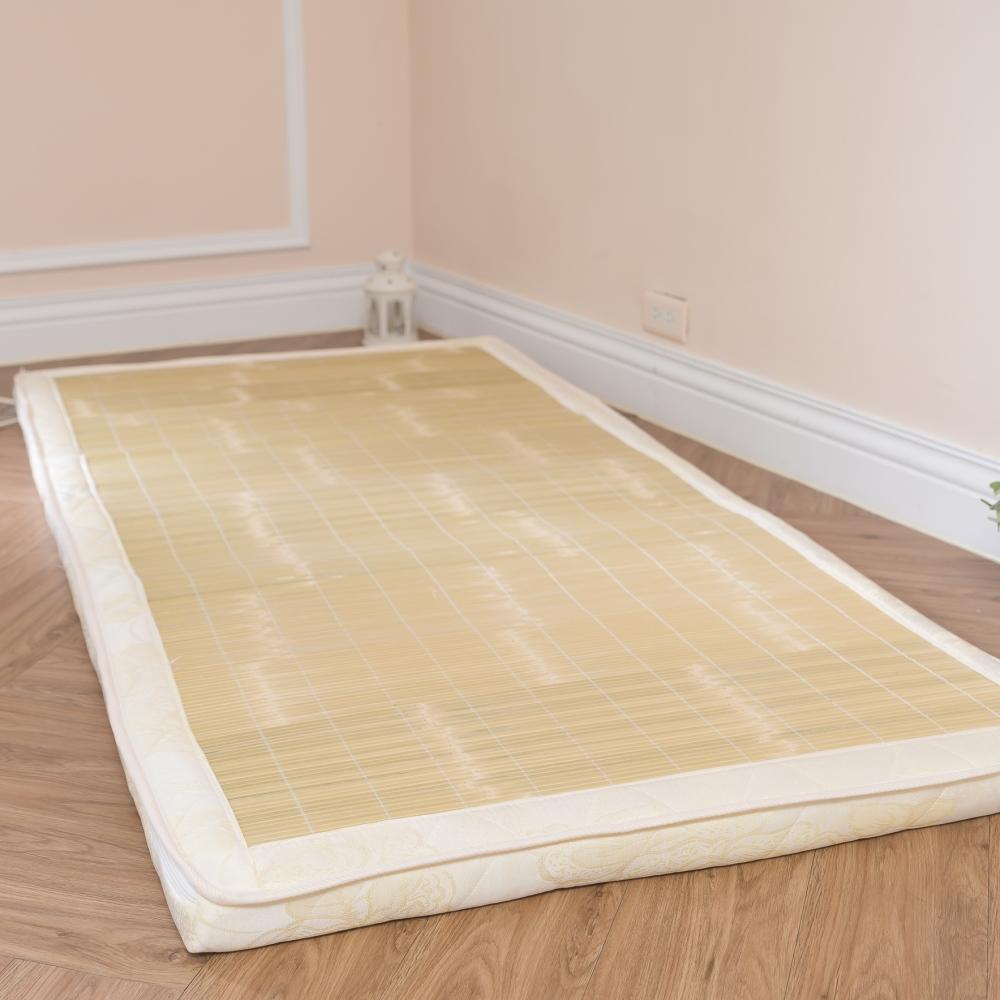 eyah宜雅 台灣製可折疊雙面裹竹蓆面三折太空記憶棉床墊-雙人5尺 米黃緹花